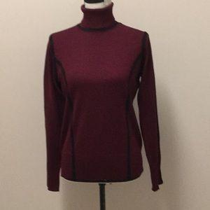 Carmen Marc Valvo burgundy turtleneck sweater